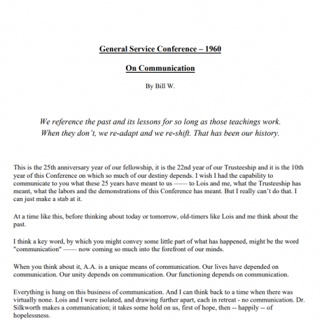 Bill W 1960 GSC On Communication