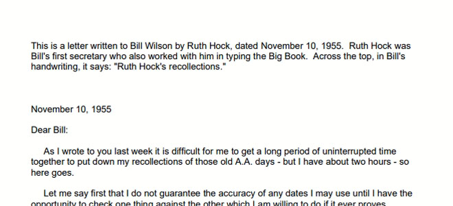 Letter from Ruth Hock to Bill Wilson