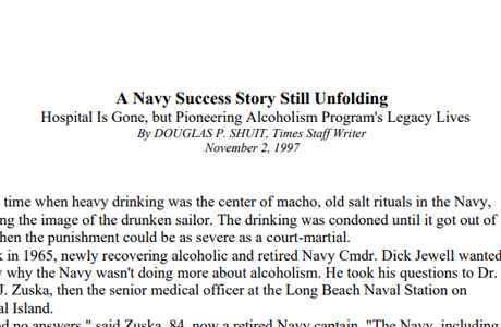 US Navy Alcoholism Program Started in Long Beach